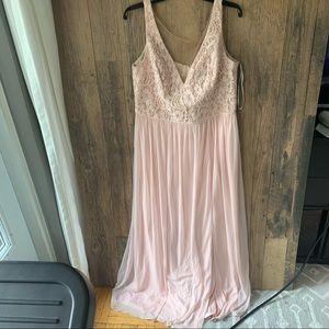 Womens Floor Length Pale Pink Bridesmaids Dress